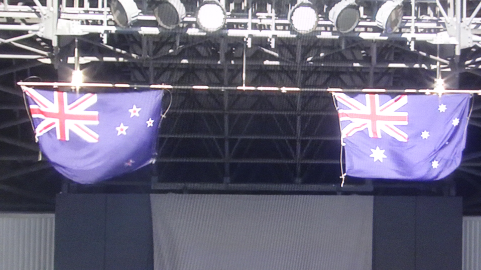 掲揚されていた両国の国旗