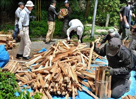 薪を伐採している様子