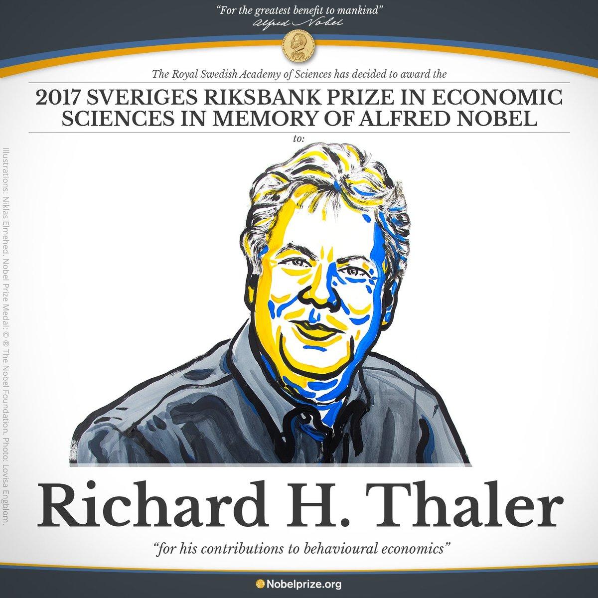 リチャード・テイラーさんのノーベル経済学賞受賞を知らせるポスター