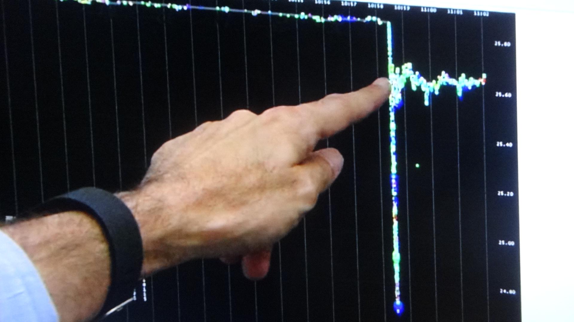 AIコンピューターの暴走による 瞬時の異常な株価の変動を示すグラフ