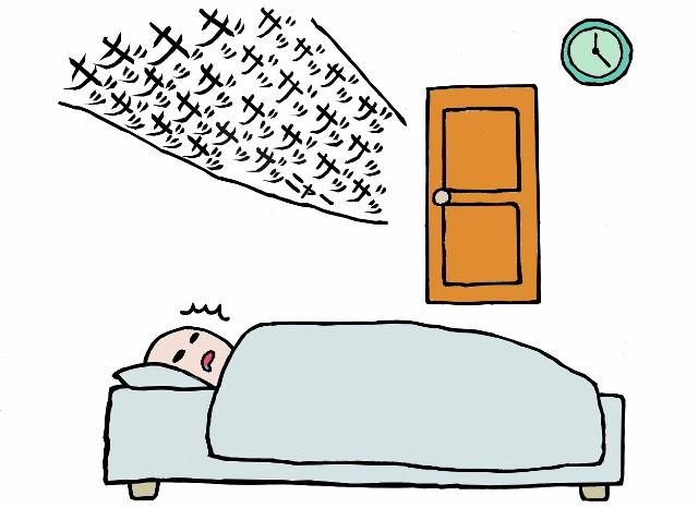 寝ている間に「ガサッ ガサッ」という音に気が付いた人のイラスト