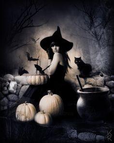 魔女と黒ネコの写真