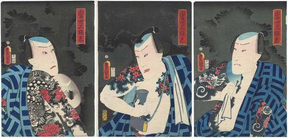 ブロマイドのような歌舞伎役者たちが描かれた作品