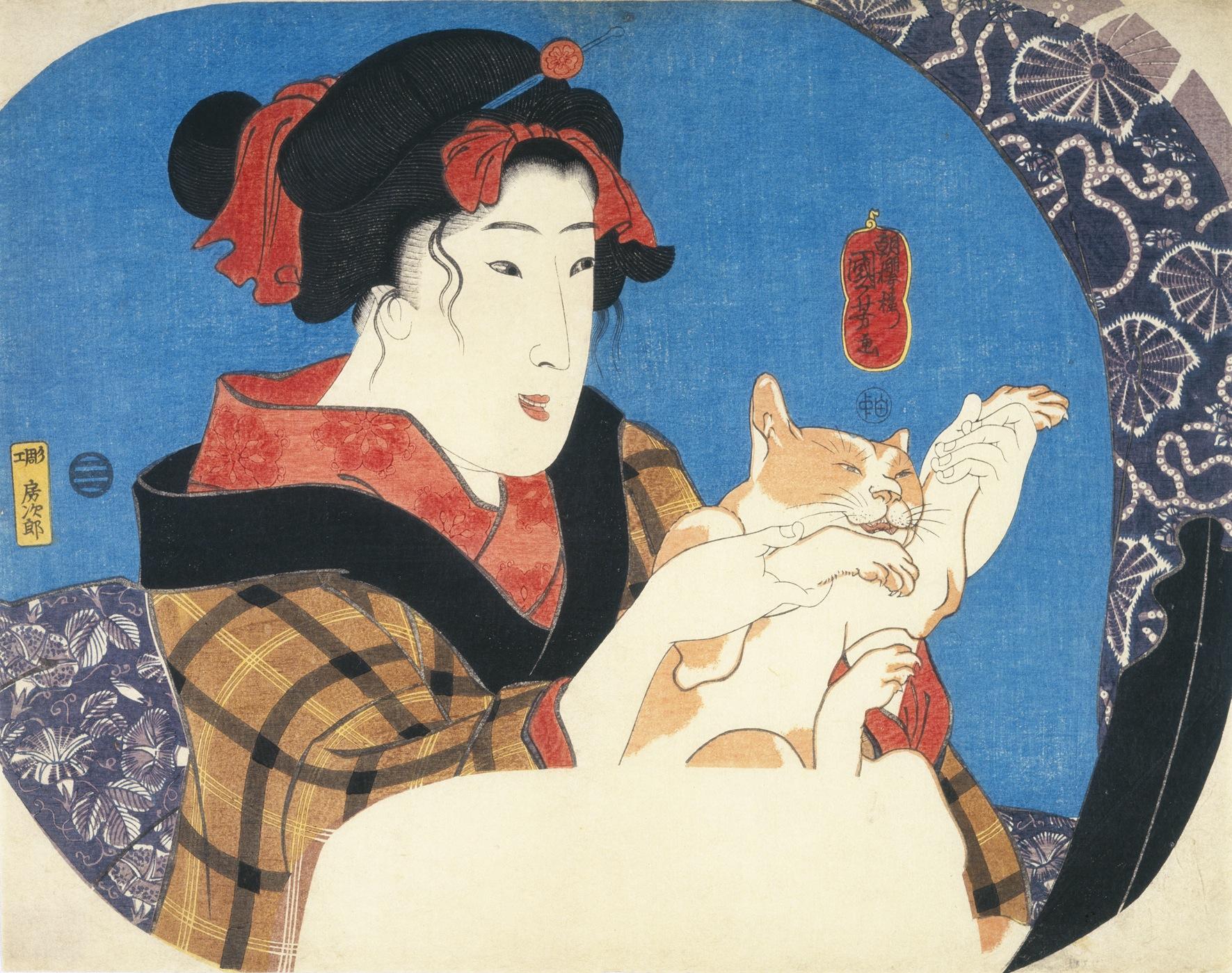 ネコを抱いた女性が描かれた作品