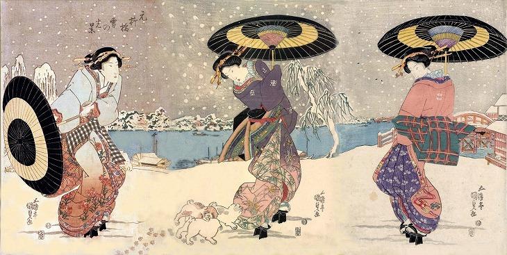 様々なデザインの着物を着た女性たちが描かれた作品