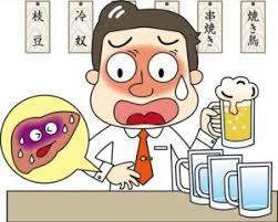 アルコール性肝障害ではASTの方が上昇することを示す図