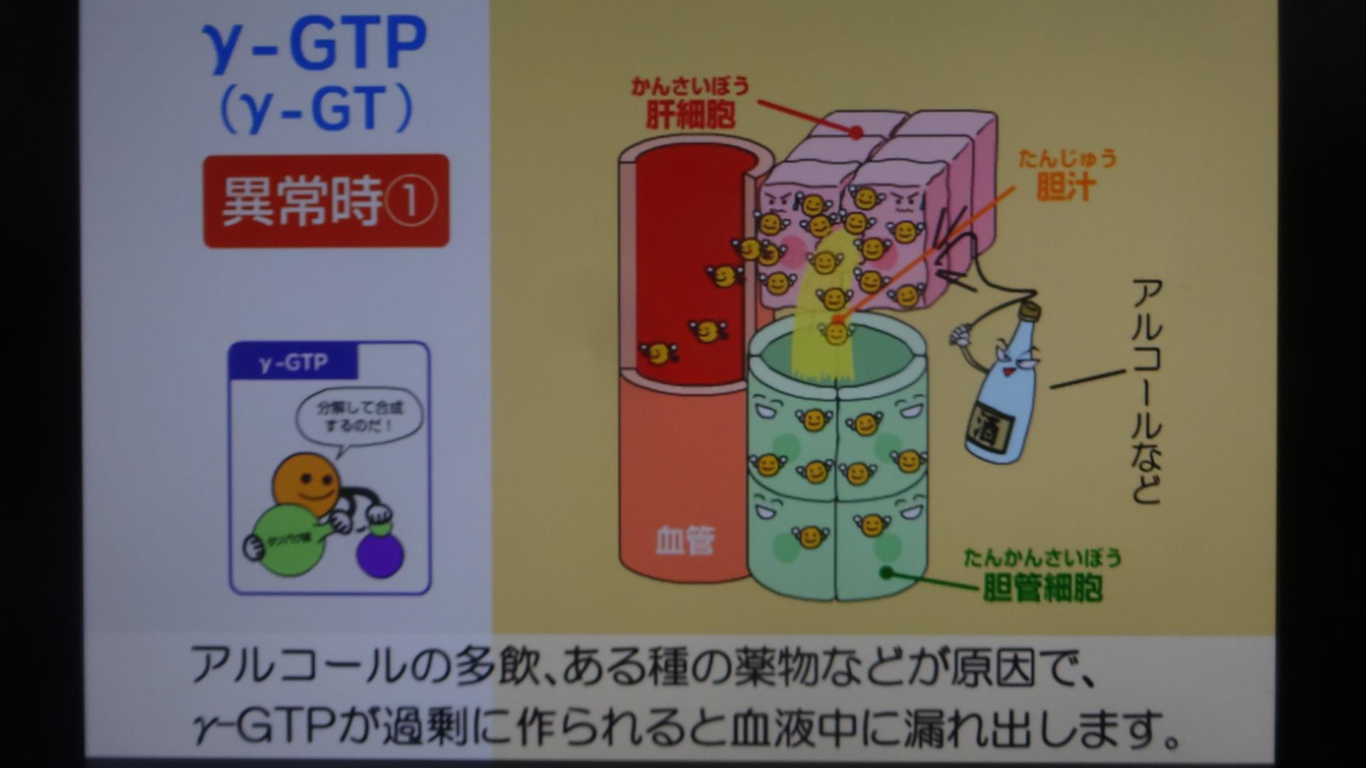 アルコール性肝障害ではγGTPが高くなることを示す図