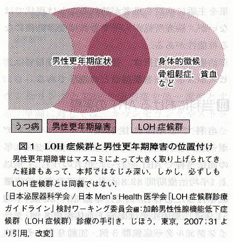 うつ病 男性更年期障害 LOHの関係を示した図