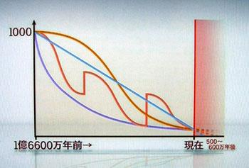 Y染色体が経年的に小さくなっていることを示すグラフ