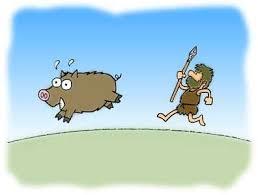 動物を追う狩猟民の姿