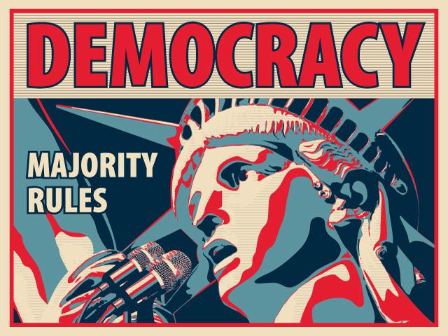 民主主義は基本ルール と書かれたメッセージカード