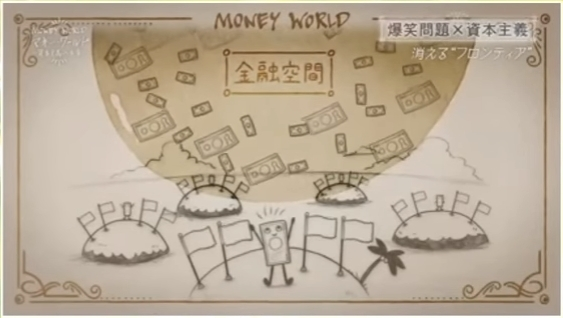 創造された新たなフロンティアである金融空間を示す図