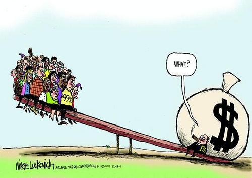 世界的規模で 生まれた巨大格差の現状を揶揄する戯画