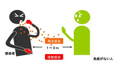 おたふくかぜの感染経路を示す図