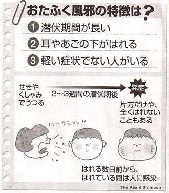 おたふくかぜの特徴をまとめた図