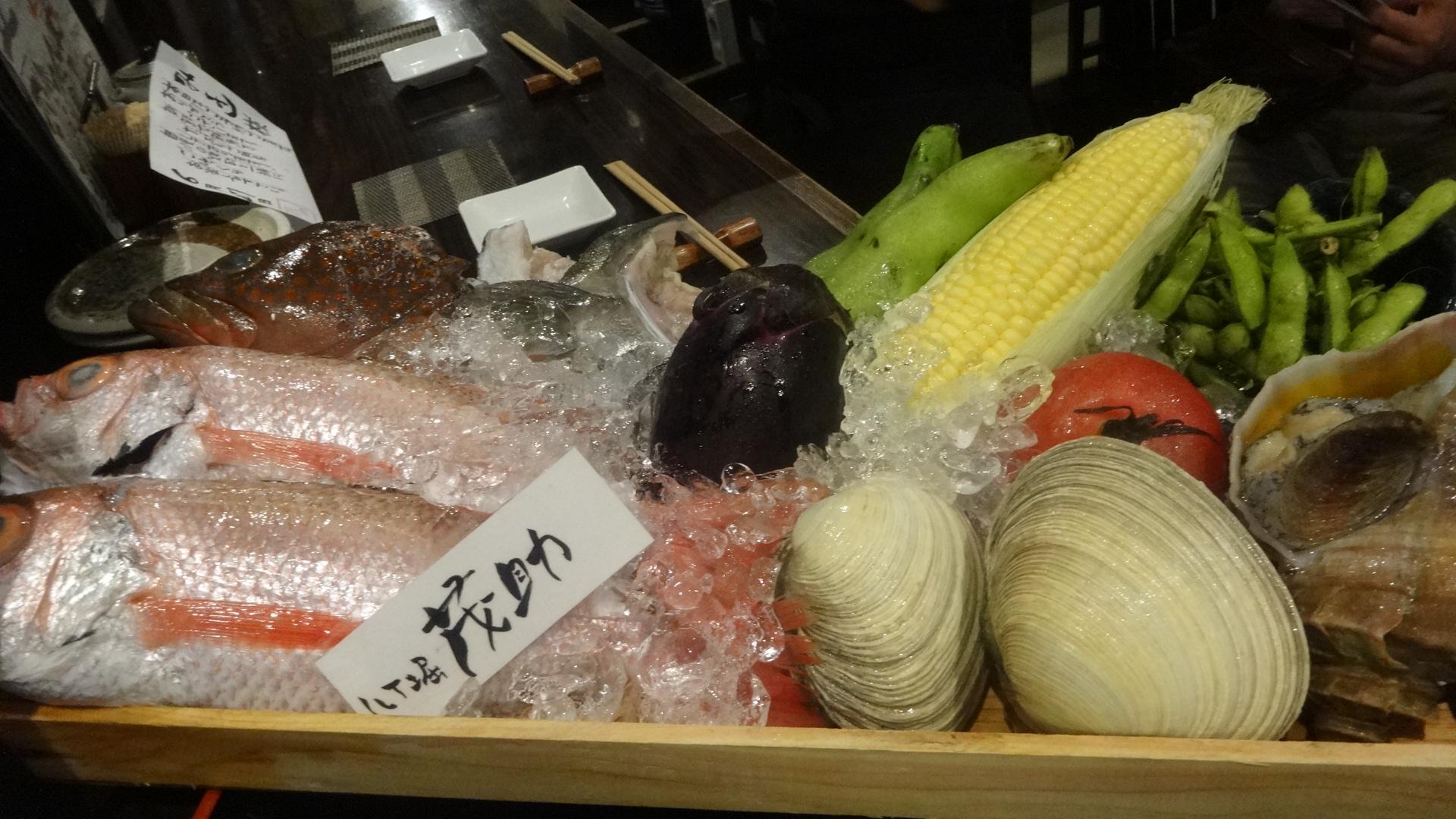 今日のお勧めの魚介類やお野菜