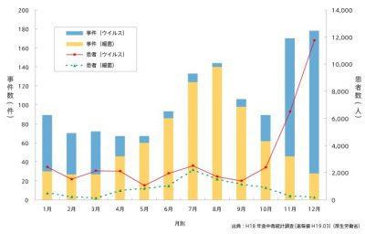夏の食中毒は 細菌性が多いことを示すグラフ