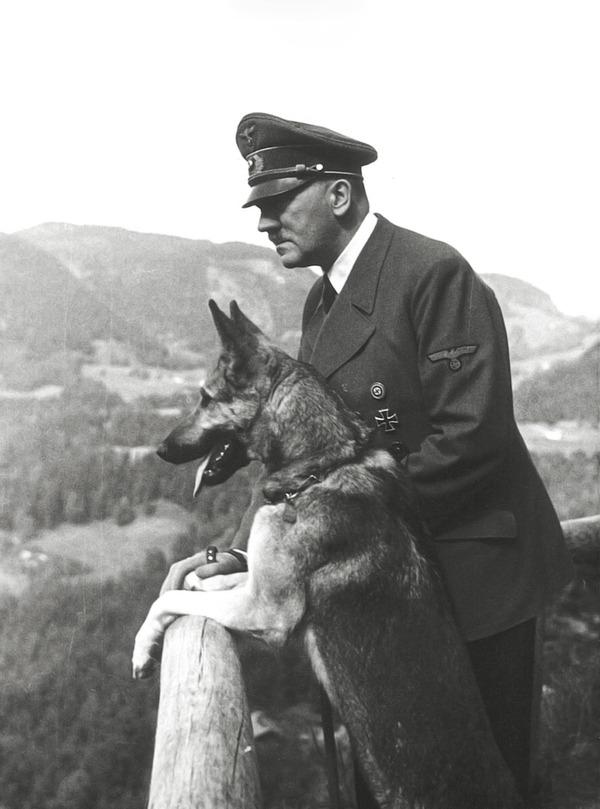 犬をかわいがるヒトラーの写真