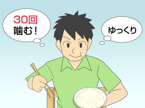 よく噛んでゆっくり食べている人