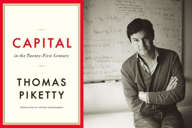 「21世紀の資本」の表紙と著者のトマ・ピケティの写真