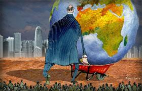 現代社会の富の一極集中状態を描く戯画