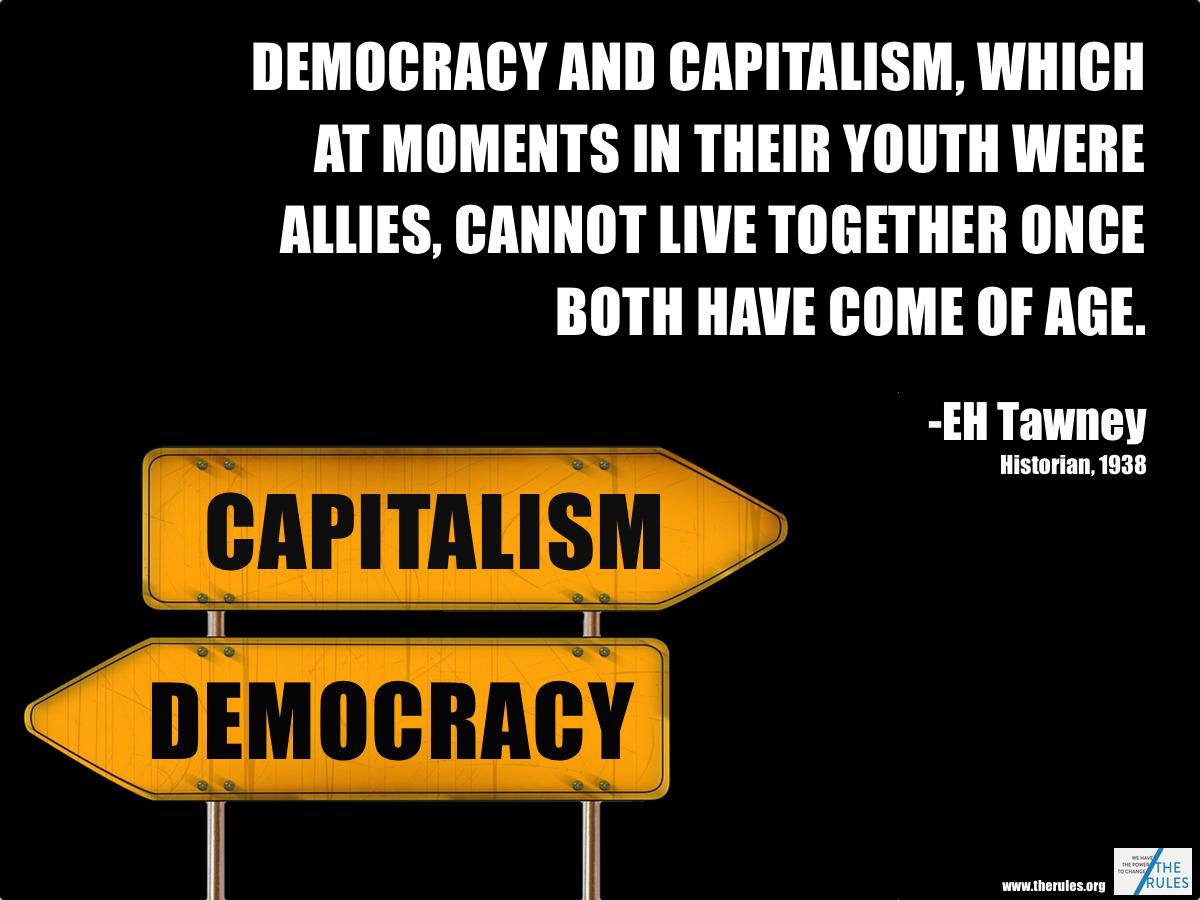 格差拡大は 最終的には 民主主義をも殺してしまうかもしれない と警告を鳴らすチラシ