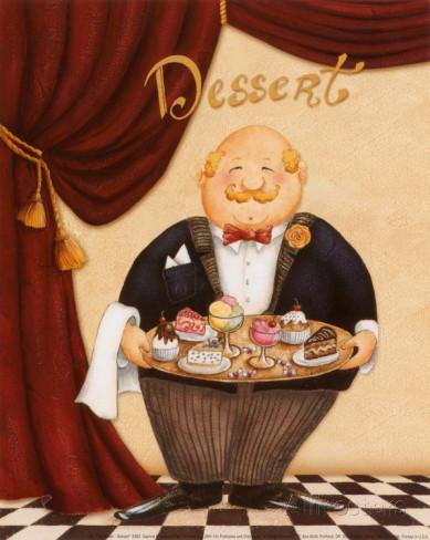 デザートを運ぶ太ったウエイター