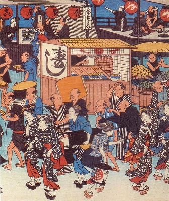 江戸時代の寿司の屋台の絵