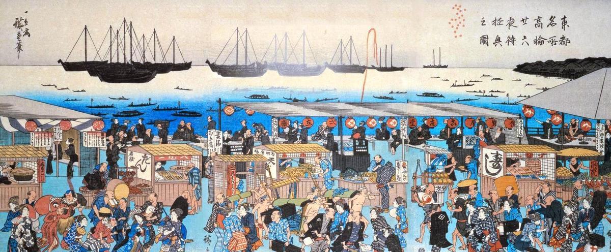 江戸時代の立ち食い天ぷら屋さんの絵