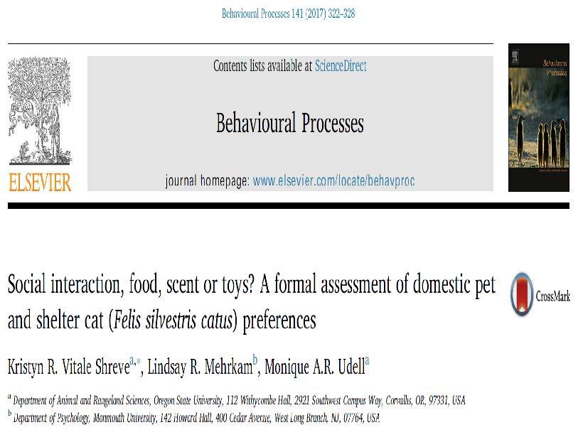 ネコの好みに関する研究の論文の表紙