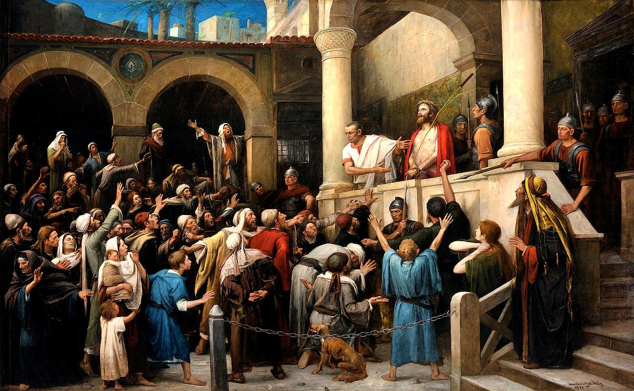ピラトの裁判でイエスが裁かれるシーン