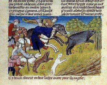 豚を食べる中世ヨーロッパの人たち