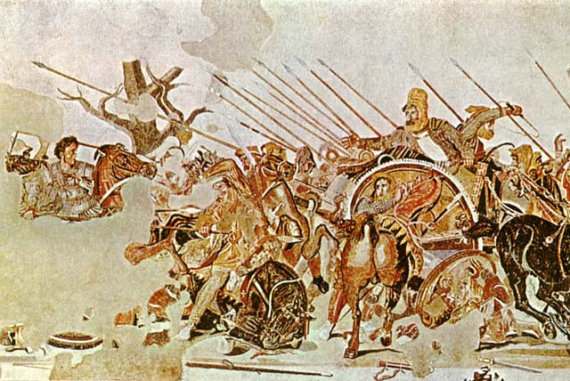 アレクサンダー大王と闘うアケメネス朝ペルシアの人々を描いた絵