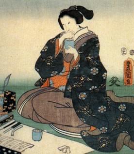 江戸時代に香道を楽しむ人の絵