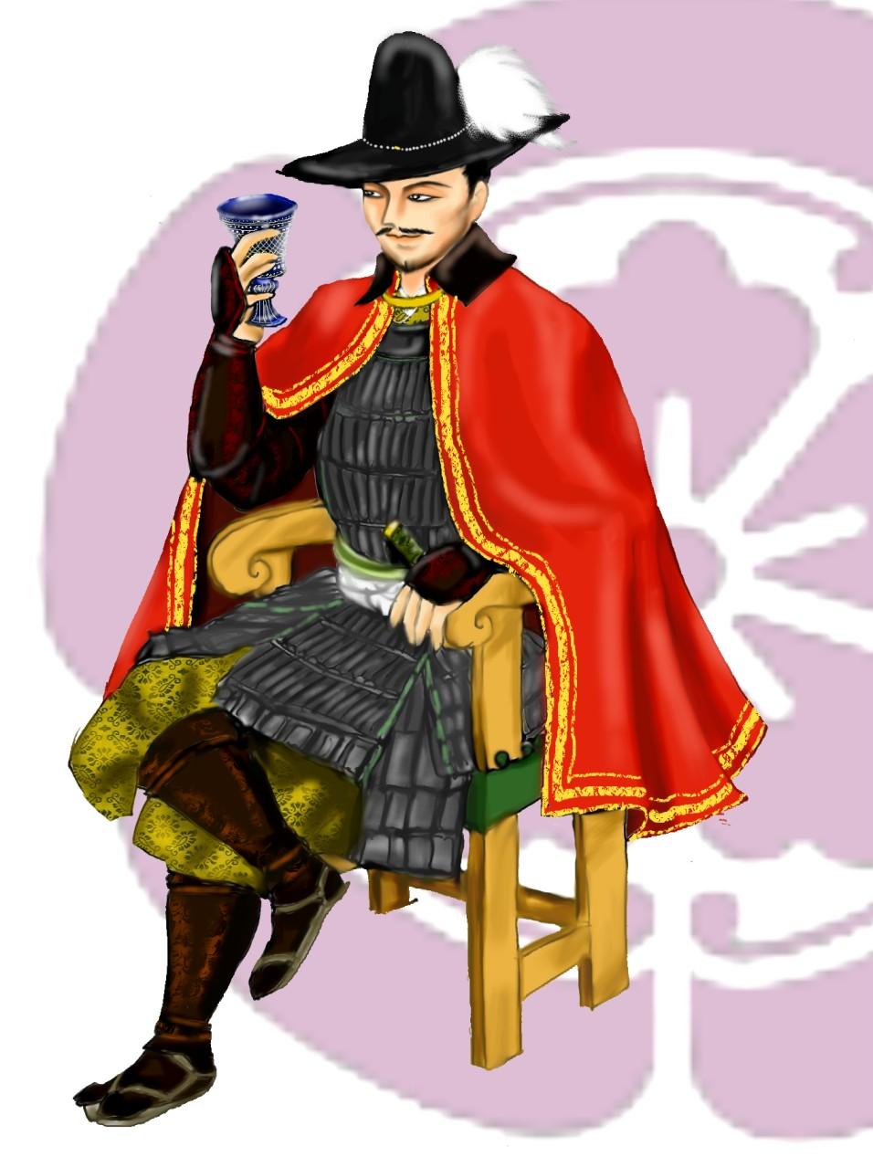 葡萄酒を飲む室町時代の人の絵