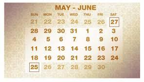 ラマダンのスケジュールが書かれたカレンダー