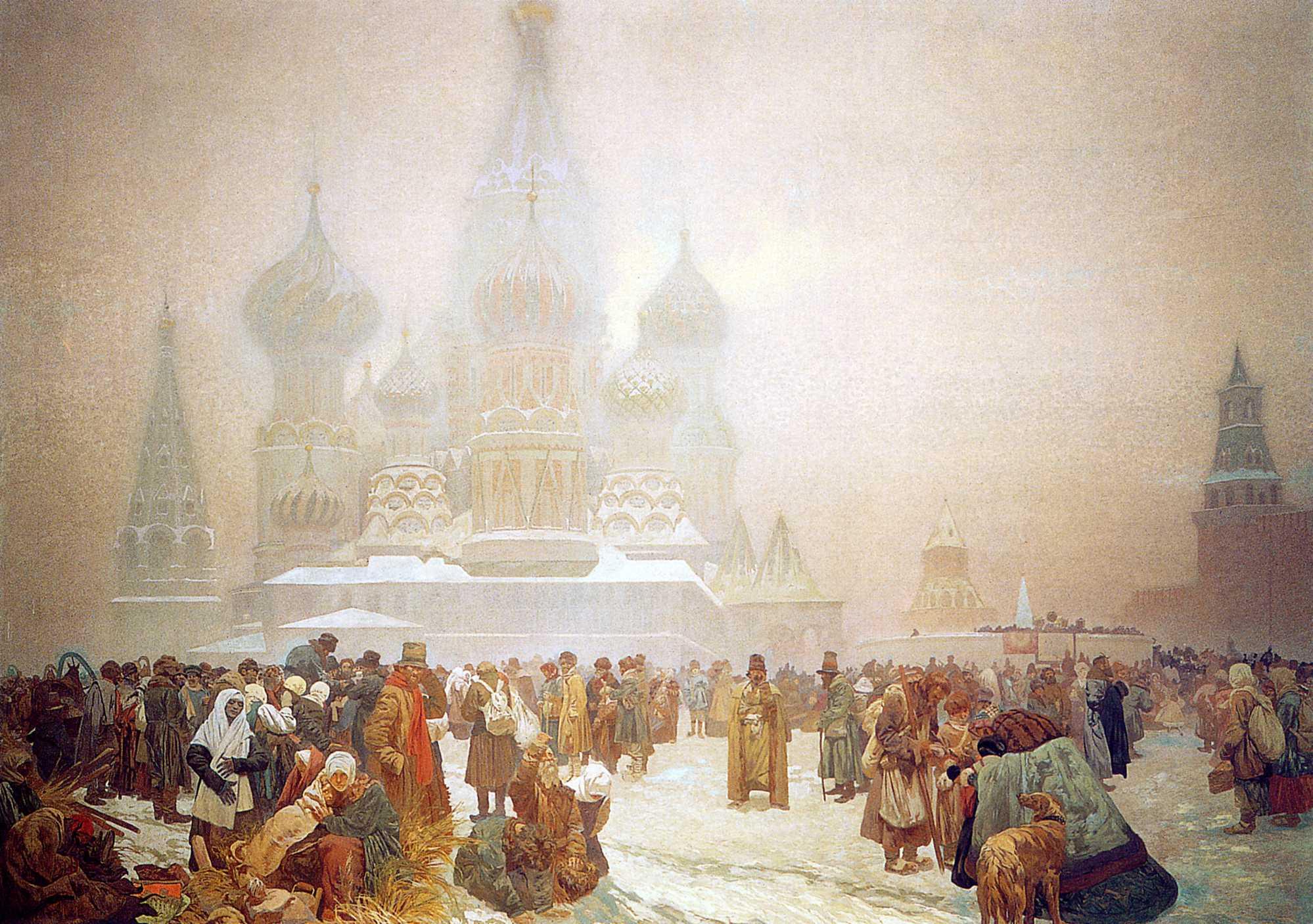 雪のモスクワの風景