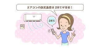エアコンの設定温度は28℃にすることを勧める図