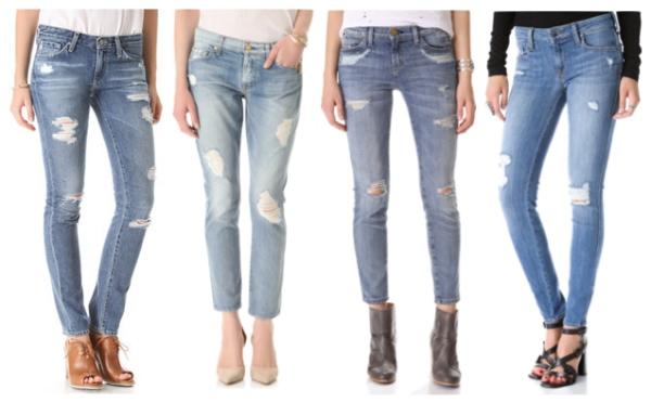 いろいろなデザインの膝の部分がぱっくりと割れているジーンズ