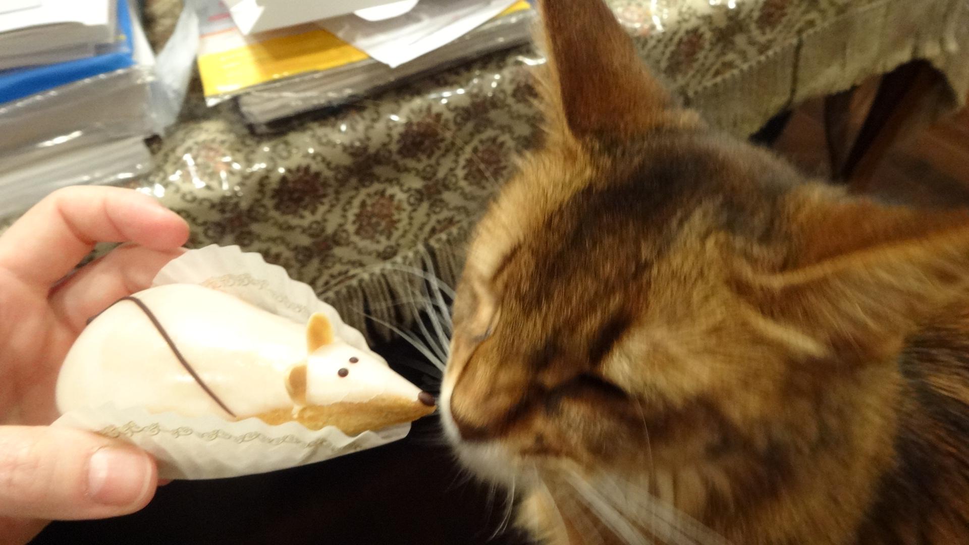 ネズミの形をしたケーキを舐めるローズ