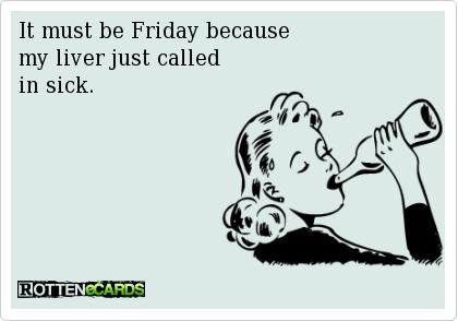週末の酒のみを揶揄する漫画