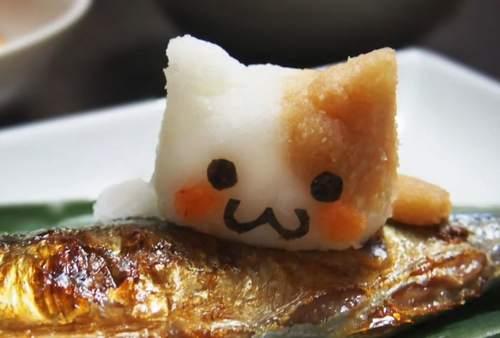ネコ顔の大根おろしアート
