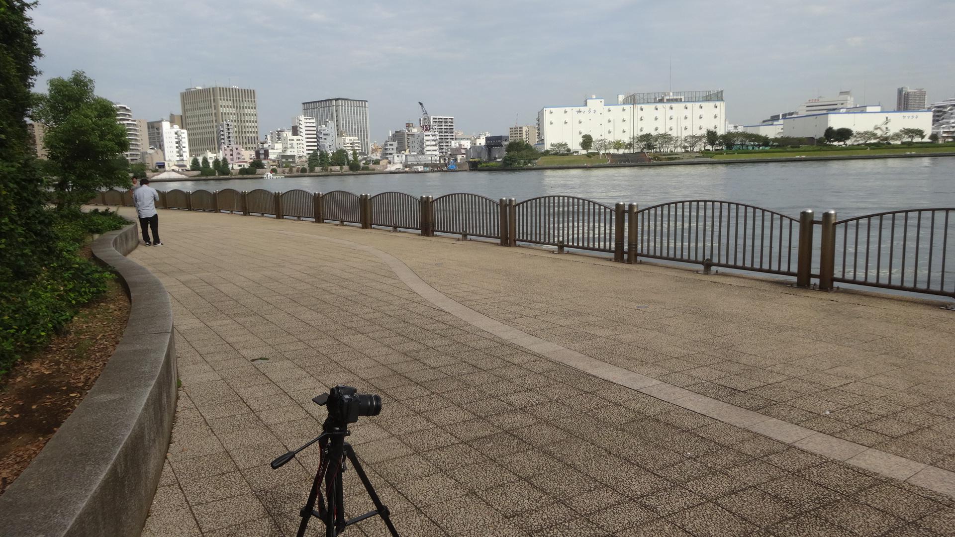 隅田川テラスでの撮影