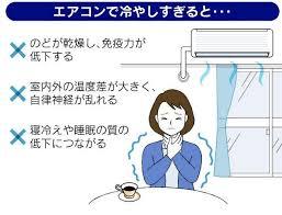 クーラーで冷やし過ぎると自律神経が乱れ夏風邪を起こしやすいことを示す図