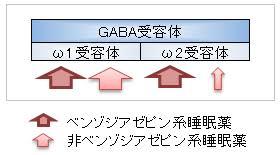 ベンゾジアゼピン系 非ベンゾジアゼピン系の2種類のGABA受容体への作用が異なるので 抗不安作用が異なることを示した図