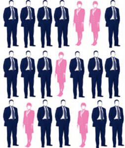 たくさんの男性の中の少数の女性