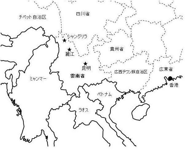 雲南省の位置を示す地図