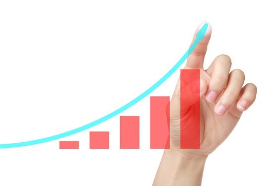 右肩上がりの経済成長を示すグラフ