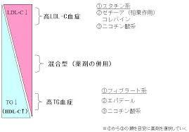 脂質異常症のタイプに適した薬剤を示す図