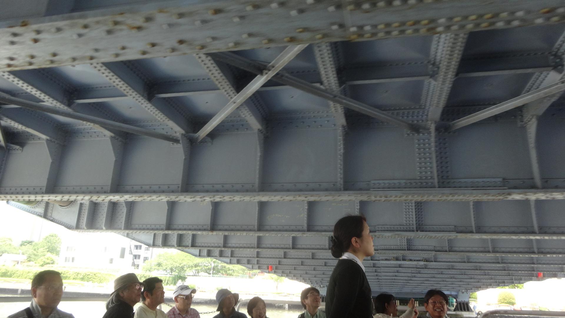頭のすぐ上に見える橋の下の部分